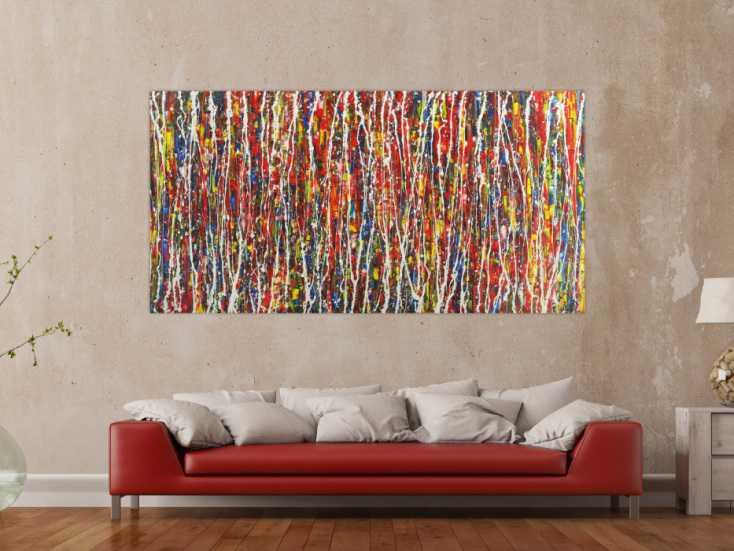 #1669 Abstraktes Gemälde auf Leinwand handgemalt Action Painting Modern Art 100x200cm von Alex Zerr