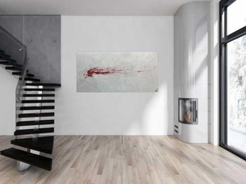 Abstraktes Acrylbild grau mit rotem Fleck