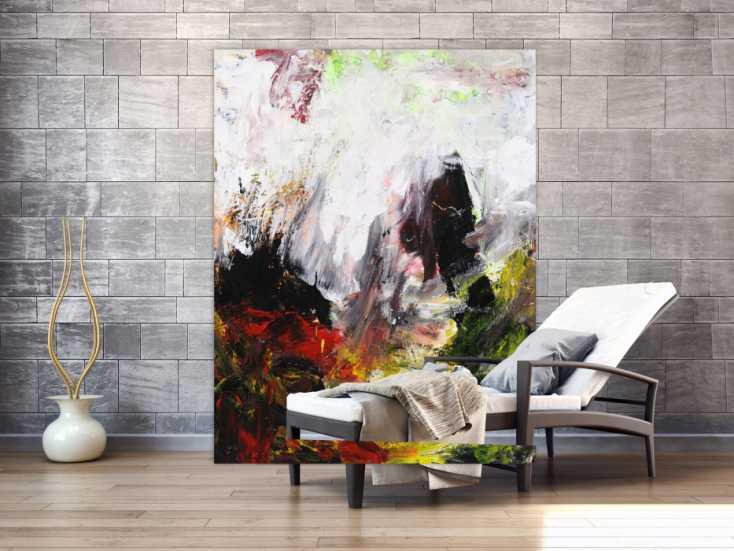 #1672 Abstrakres Gemälde Modern Art Tachismus handgemalt auf Leinwand 180x140cm von Alex Zerr