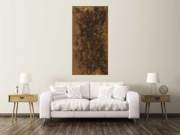 #1673 Abstraktes Gemälde aus echtem Rost grobe Struktur handgemalt Modern ... 160x80cm von Alex Zerr
