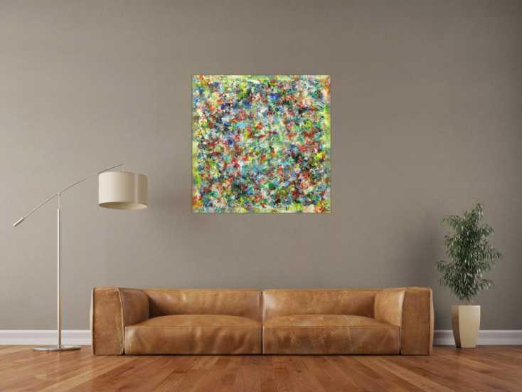 #1674 Abstraktes Gemälde Mischtechnik handgemalt hochformat 90x90cm von Alex Zerr