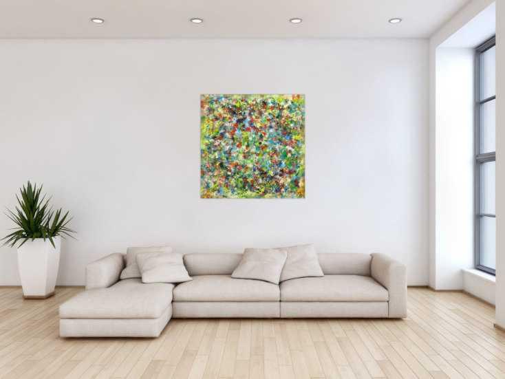 #1675 Abstraktes Gemälde sehr bunt Modern Art handgemalt auf Leinwand 90x90cm von Alex Zerr