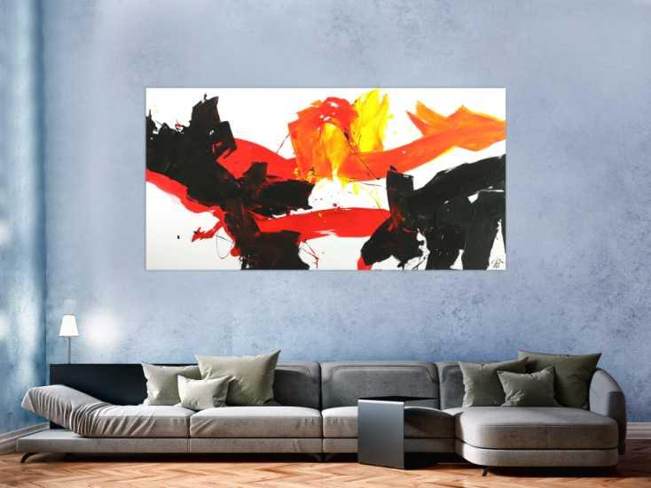 #1677 Abstraktes Gemälde Spachteltechnik grau weiß handgemalt Modern Art 100x200cm von Alex Zerr