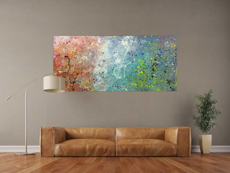 #1678 Abstraktes Gemälde auf Leinwand handgemalt Modern Art Action Painting 80x180cm von Alex Zerr