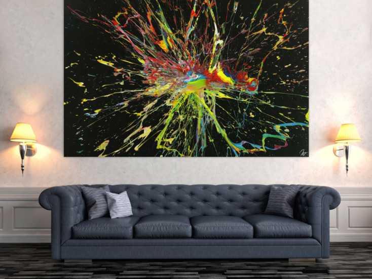#1679 Abstraktes Gemälde Action Painting handgemalt Modern Art auf Leinwand 130x200cm von Alex Zerr