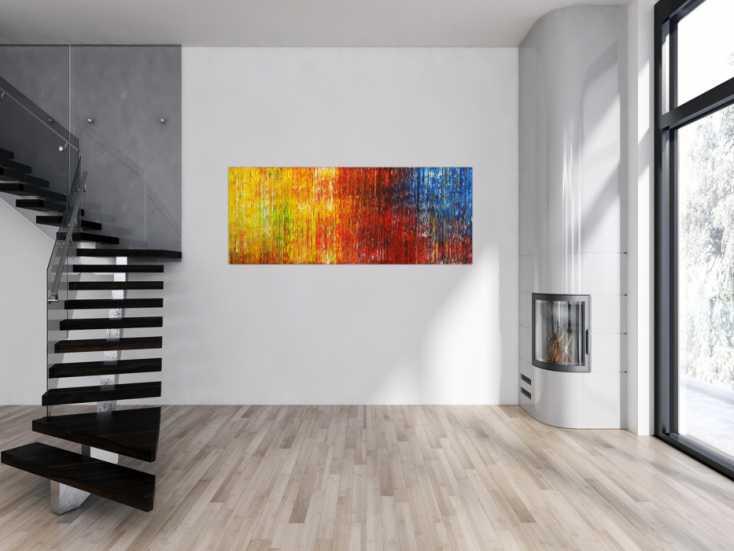 #1680 Abstraktes Gemälde auf Leinwand Acrylfarbe Handgemalt Spachteltechnik 70x180cm von Alex Zerr