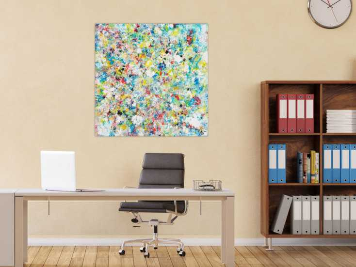 #1681 Abstraktes Acrylbild handgemalt auf Leinwand bunte Farben 90x90cm von Alex Zerr
