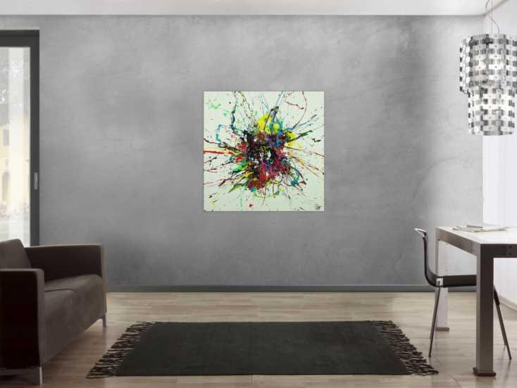#1683 Abstraktes Gemälde sehr bunt Action Painting Leinwand quadratisch 100x100cm von Alex Zerr