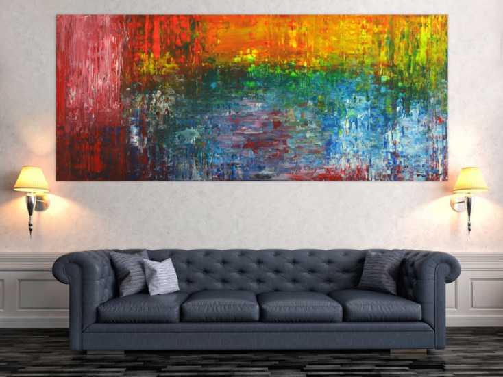 #1684 Abstraktes Acrylbild auf Leinwand handgemalt Spachteltechnik bunte ... 100x235cm von Alex Zerr