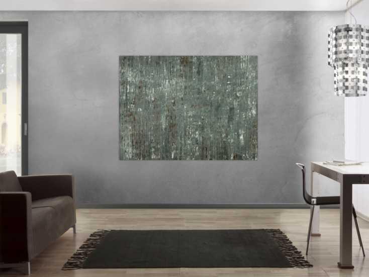 #1685 Abstraktes Gemälde handgemalt grau braun weiß Modern Art Leinwand 120x160cm von Alex Zerr