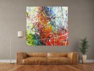 Abstraktes Gemälde auf Leinwand handgemalt Action Painting sehr bunt