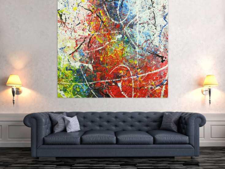 #1686 Abstraktes Gemälde auf Leinwand handgemalt Action Painting sehr bunt 140x150cm von Alex Zerr
