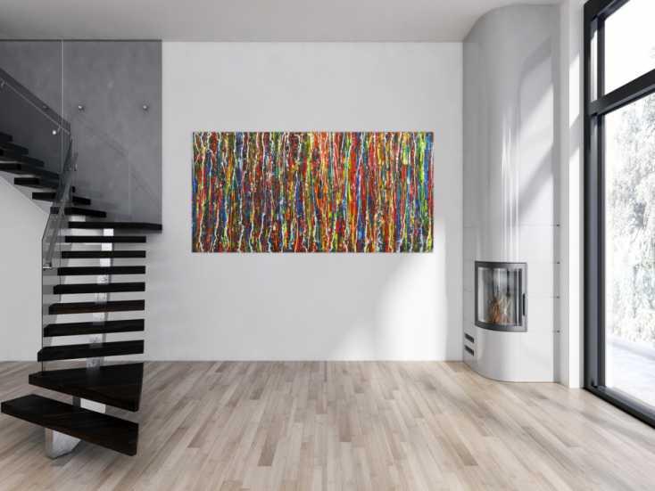 #1687 Abstraktes Acrylbild auf Leinwand Spachteltechnik Action Painting ... 100x200cm von Alex Zerr