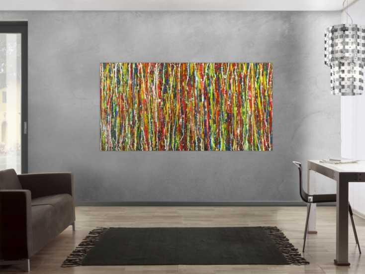 #1688 Abstraktes Gemälde sehr bunt auf Leinwand handgemalt Modern Art 100x200cm von Alex Zerr