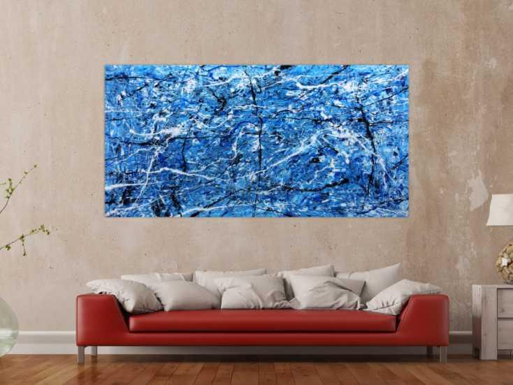 Bilder Xxl Kaufen ~ Abtraktes xxl acrylbild blau modern auf leinwand cm