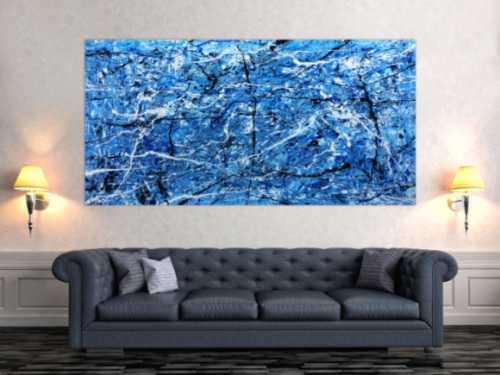 Abtraktes XXL Acrylbild blau modern