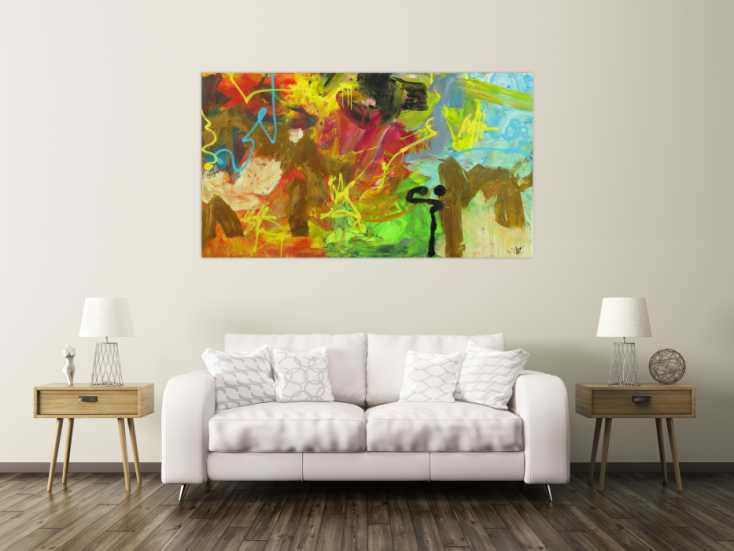#1690 Abstraktes Gemälde Mischtechnik Acryl Rost sehr bunt Modern Art auf ... 100x180cm von Alex Zerr