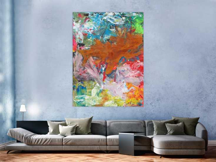 #1691 Abstraktes Gemälde Mischtechnik Acryl und Rostfarbe auf Leinwand ... 160x120cm von Alex Zerr