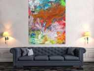 Abstraktes Gemälde Mischtechnik Acryl und Rostfarbe auf Leinwand handgemalt Modern Art