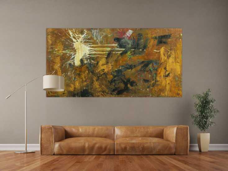 #1692 Abstraktes Gemälde aus Rost Mischtechnik grobe Struktur Modern Art 100x200cm von Alex Zerr