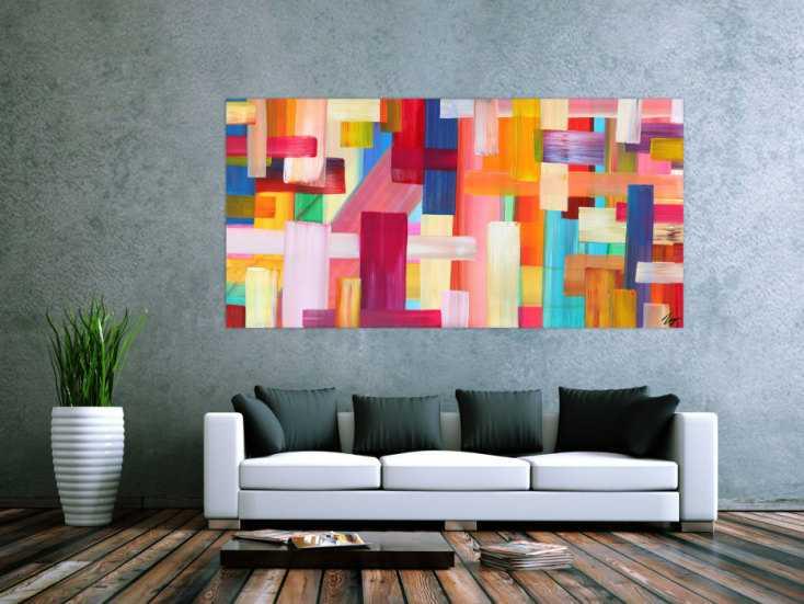 #1693 Abstraktes Gemälde bunte Streifen handgemalt Modern Art Leinwand 100x200cm von Alex Zerr