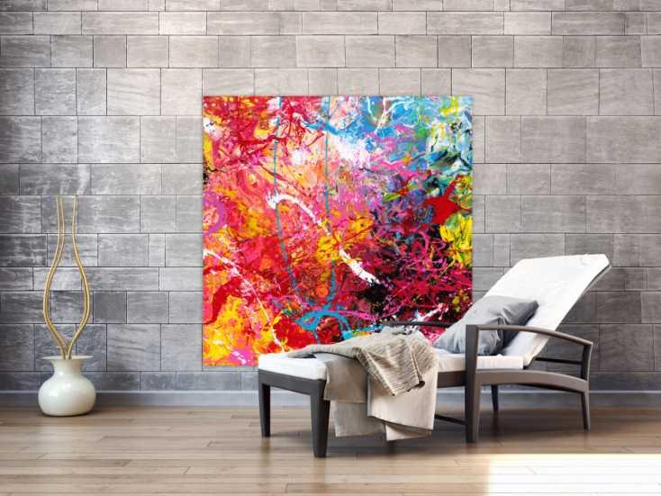 #1694 Abstraktes Gemälde auf Leinwand Action Painting sehr bunt Modern Art 130x130cm von Alex Zerr