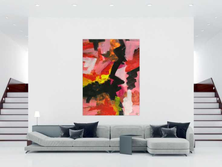 #1696 Abstraktes Gemälde Handgemlt auf Leinwand Modern Art rosa rot schwarz 200x150cm von Alex Zerr