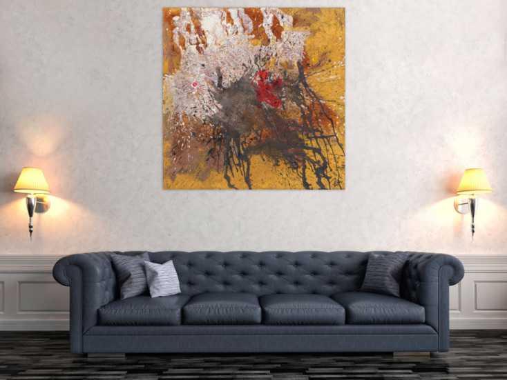 #1697 Abstraktes Gemälde Mischtechnik Rost Acryl auf Leinwand Handgemalt ... 110x110cm von Alex Zerr