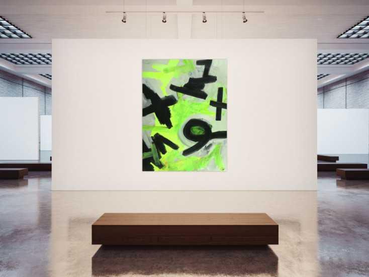 #1698 Abstraktes Gemälde Neon Farben Neongrün Neongelb Schwarz Weiß ... 200x150cm von Alex Zerr
