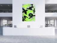Abstraktes Gemälde Neon Farben Neongrün Neongelb Schwarz Weiß Handgemalt
