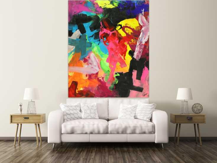 #1699 Abstraktes Acrylbild Action Painting sehr bunt Modern Art handgemalt ... 180x150cm von Alex Zerr