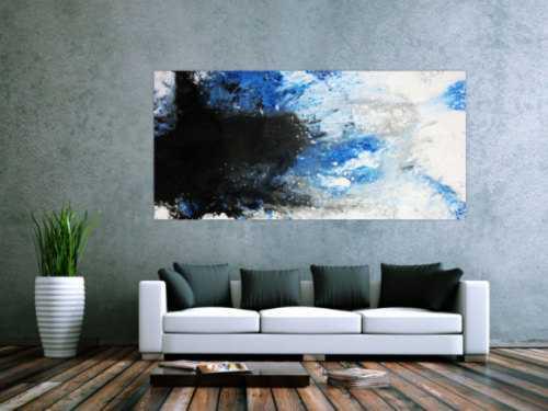 Modernes Acrylbild abstrakt weiß/blau