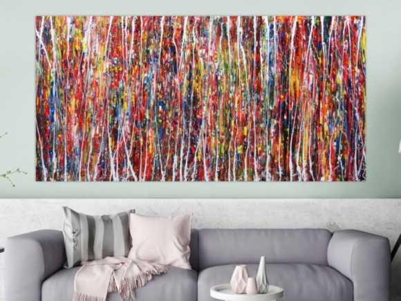 Abstraktes Acrylbild XXL bunt modern 100x200cm