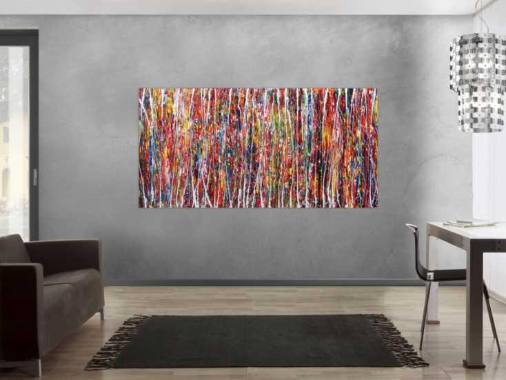 #170 Abstraktes Acrylbild XXL bunt modern 100x200cm von Alex Zerr