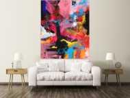 Abstraktes Gemälde Action Painting Modern Art Handgemalt auf Leinwand Hochformat