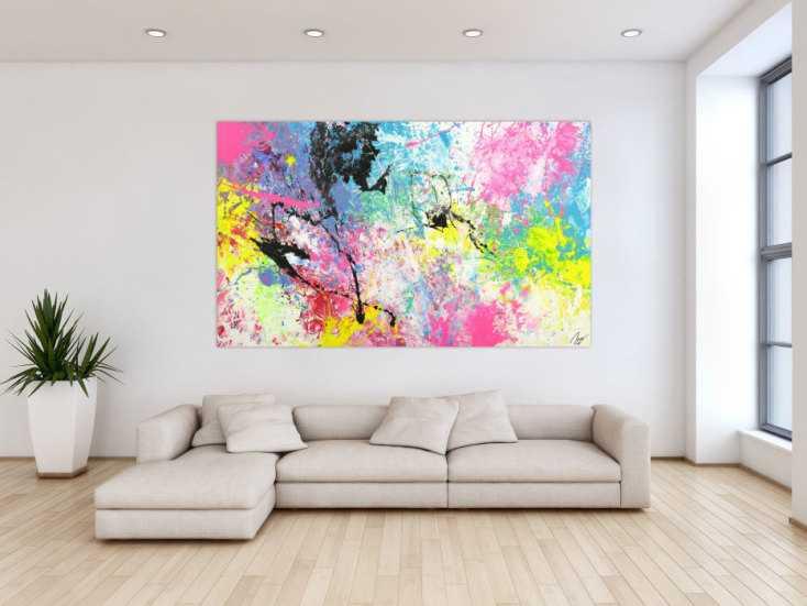 #1701 Abstraktes Gemälde Action Painting Modern Art Handgemalt bunt auf ... 120x200cm von Alex Zerr