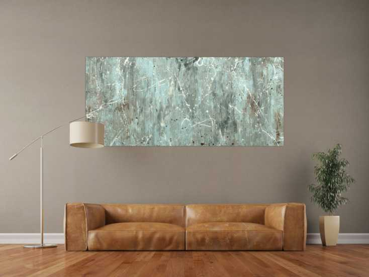 #1702 Abstraktes Acrylbild Modern Art auf Leinwand handgemalt 80x180cm von Alex Zerr