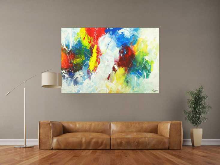 #1703 Abstraktes Gemälde Action Painting Modern Art handgemalt auf ... 100x150cm von Alex Zerr