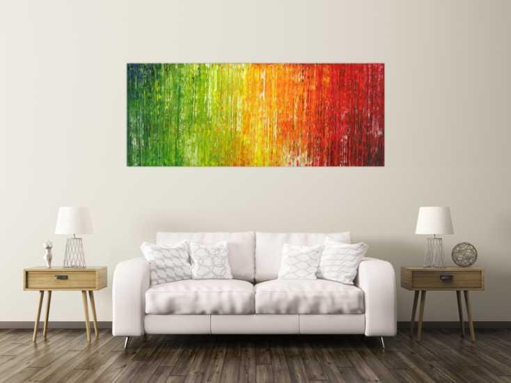 #1704 Abstraktes Acrylbild bunte Farben Spachteltechnik Modern Art auf ... 80x200cm von Alex Zerr