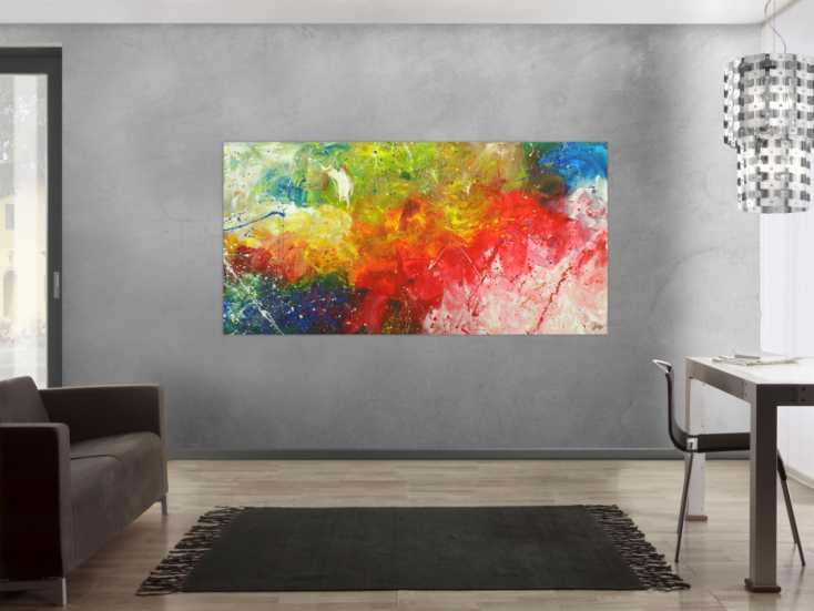 #1705 Abstraktes Gemälde Modern Art bunte Farben handgemalt auf Leinwand 100x200cm von Alex Zerr