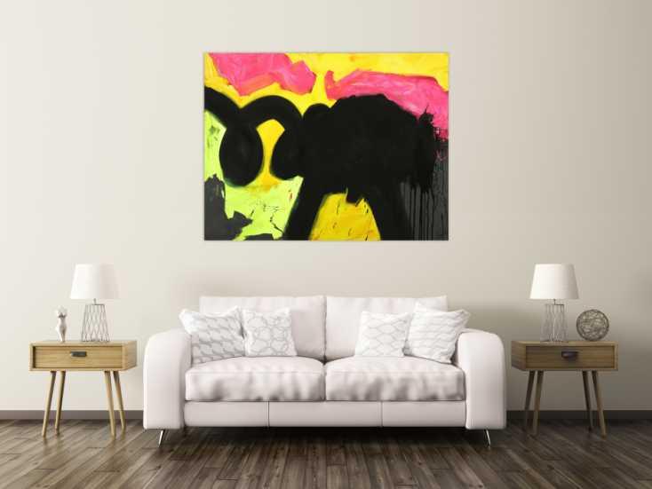 #1707 Abstraktes Gemälde Minimalistisch Neon Farben Modern Art auf ... 115x150cm von Alex Zerr