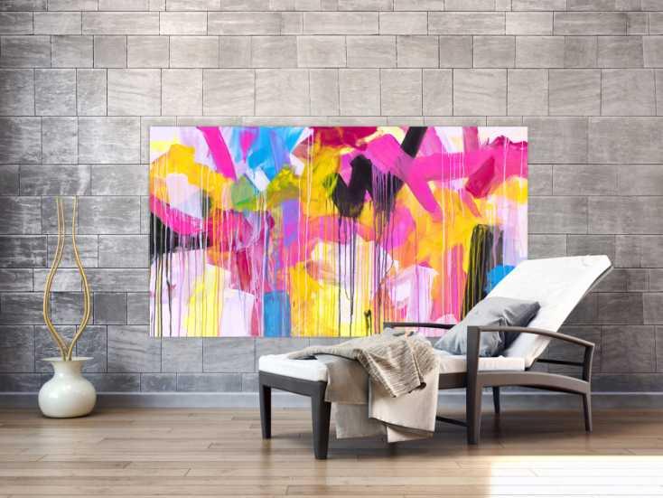 #1708 Abstraktes Gemälde auf Leinwand handgemalt sehr bunt Neon Farben ... 100x180cm von Alex Zerr