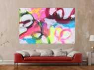 Abstraktes Gemälde Neon Farben Modern Art zeitgenössisch handgemalt Leinwand