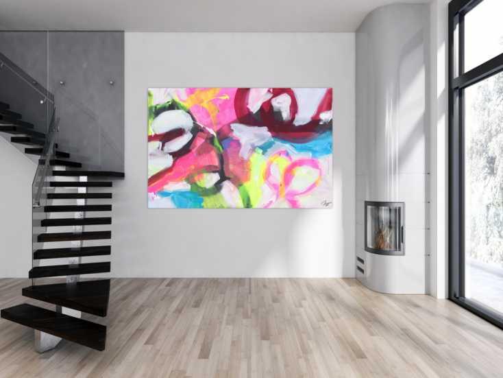 #1709 Abstraktes Gemälde Neon Farben Modern Art zeitgenössisch handgemalt ... 130x200cm von Alex Zerr