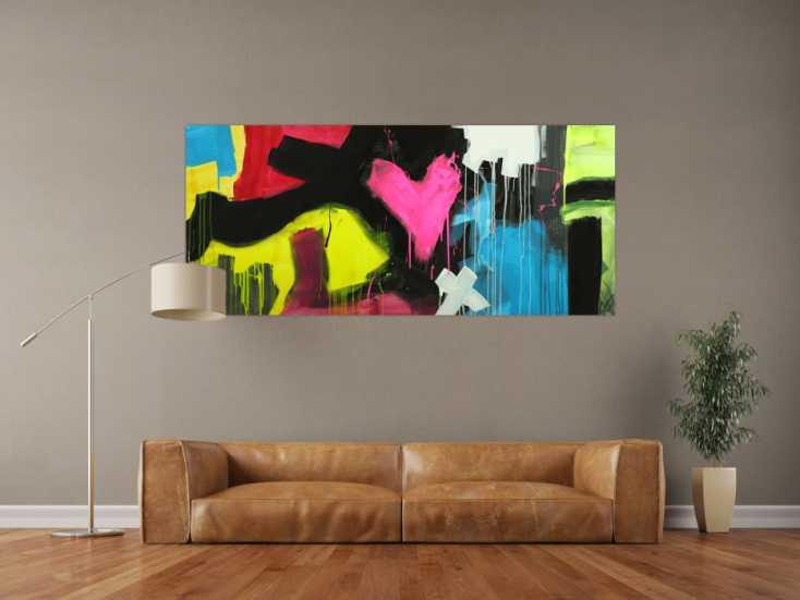 #1710 Modernes Gemälde abstrakt Modern Art handgemalt auf Leinwand sehr ... 80x180cm von Alex Zerr