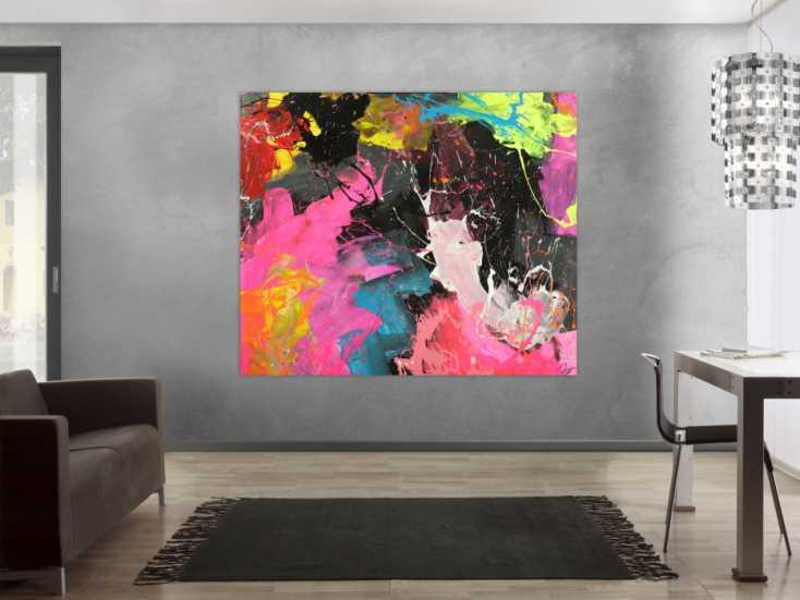 #1711 Abstraktes Gemälde Action Paintng Neon Farben Neon Farben ... 150x180cm von Alex Zerr
