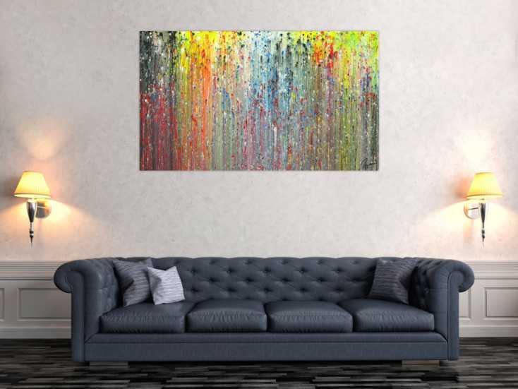 #1713 Abstraktes Acrylbild modernes Gemälde handgemalt Modern Art auf ... 80x140cm von Alex Zerr