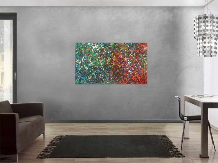 #1714 Abstraktes Acrylgemälde Modern Art handgemalt Action Painting 80x140cm von Alex Zerr