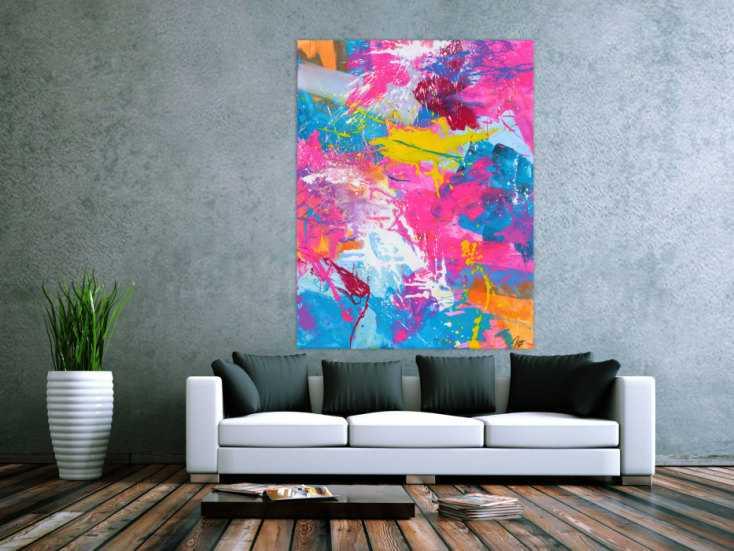 #1715 Abstraktes Gemälde Action Painting Modern Art Neon Farben ... 150x115cm von Alex Zerr