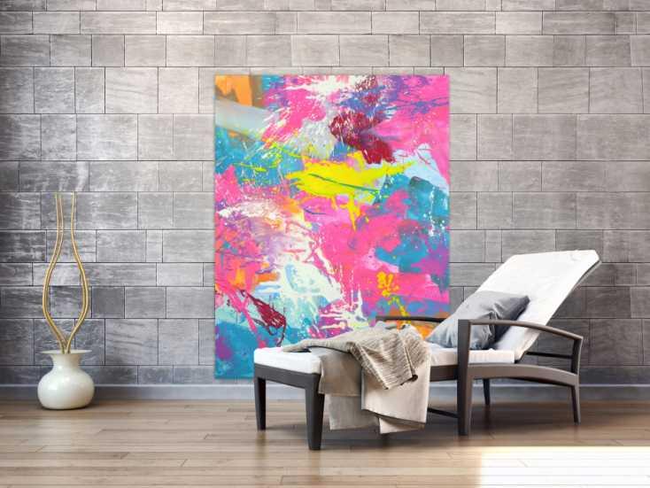 #1715 Abstraktes Gemälde Action Paintng Modern Art Neon Farben ... 150x115cm von Alex Zerr